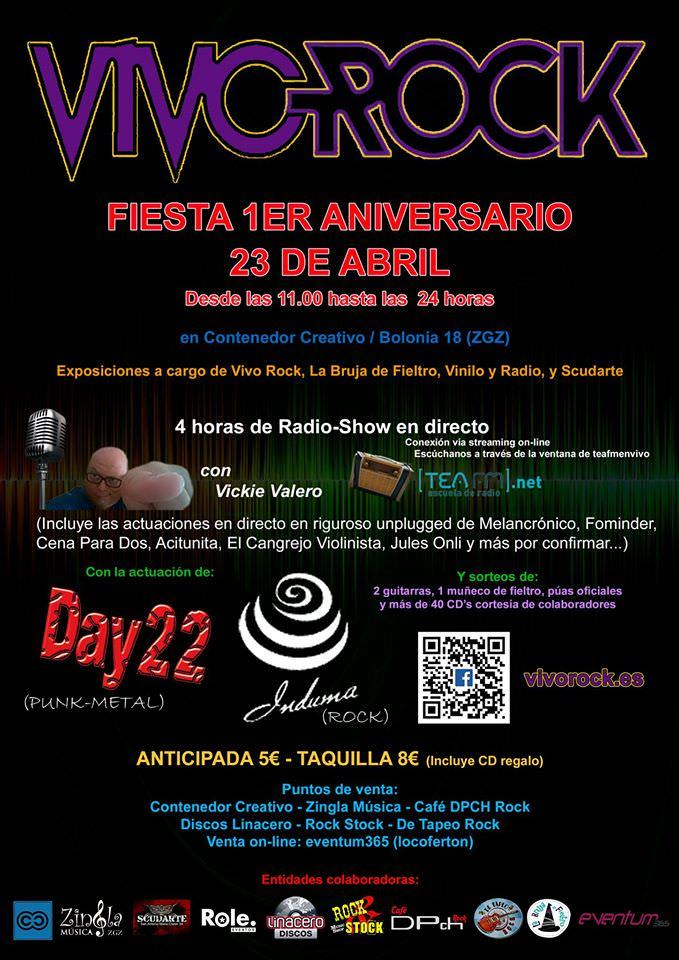 Cartel 1er aniversario Vivo Rock