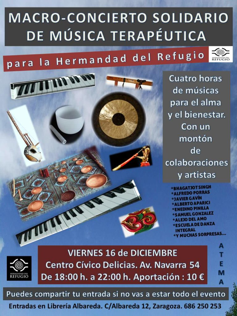 Cartel oficial del macro-concierto de musicoterapia